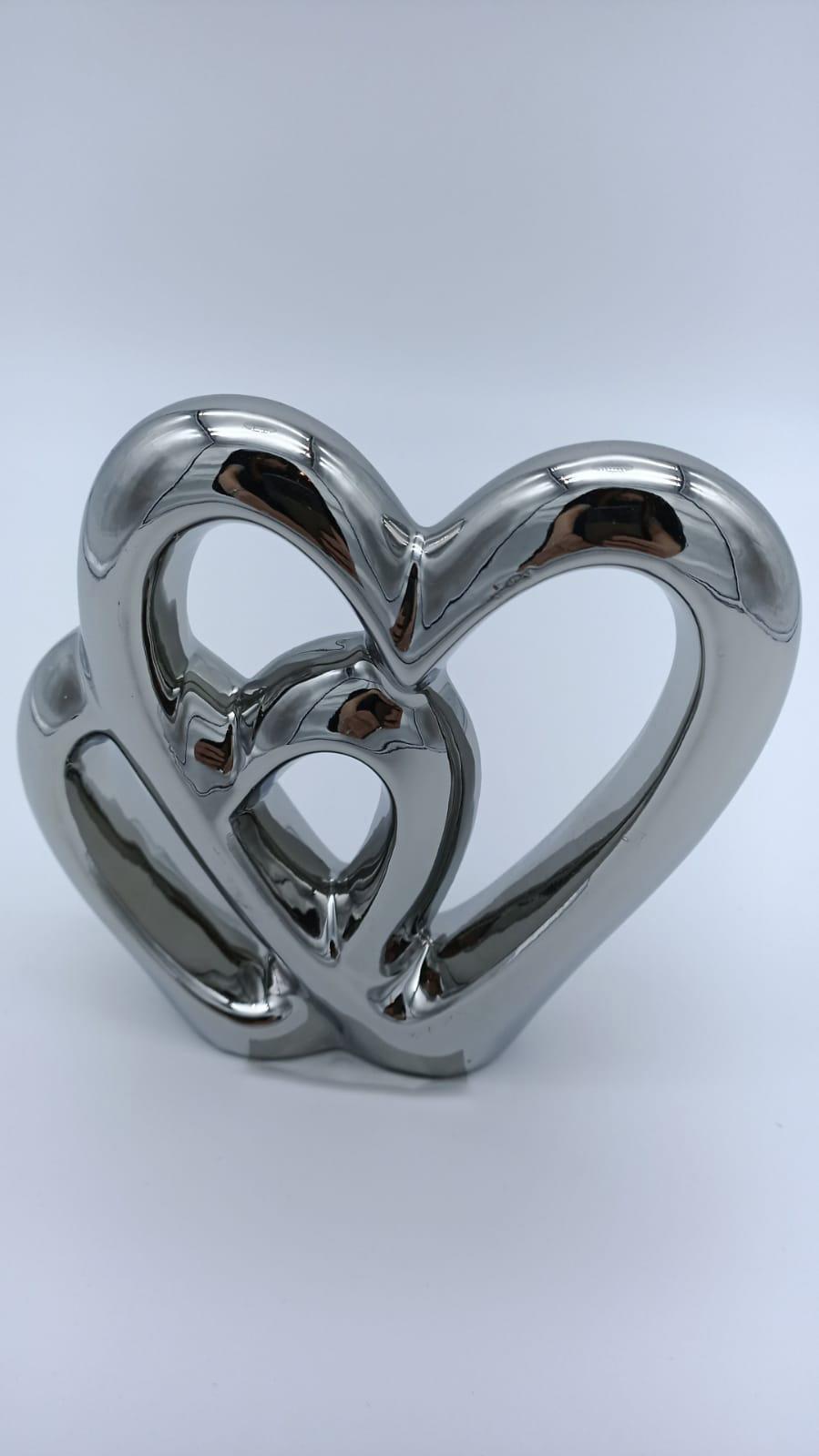 Soprammobile Sil Cuore Abbraccia Cuore Silver
